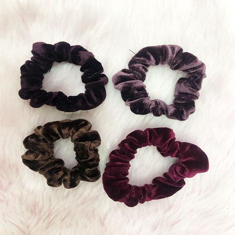 New Velvet Hair Rubber Band 4pcs Set - Purple
