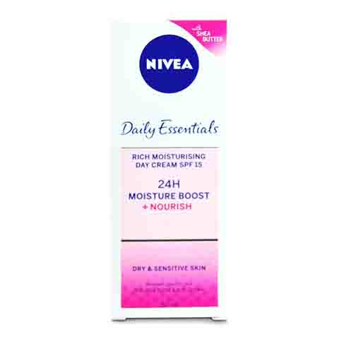 Nivea Daily Essentials 24h Moisture Boost + Nourish Rich Moisturising Day Cream SPF 15 For Dry & Sensitive Skin 50ml