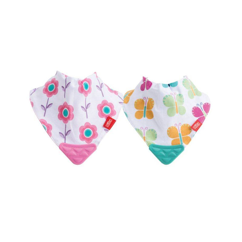 Pack of 2 Butterflies//Flowers Reversible Nuby UK Bandana Teething Bibs