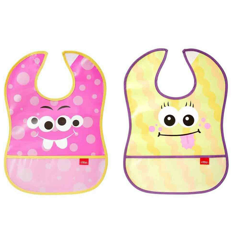Nuby Catch All Bibs 6m+ 2pack - Pink & Yellow