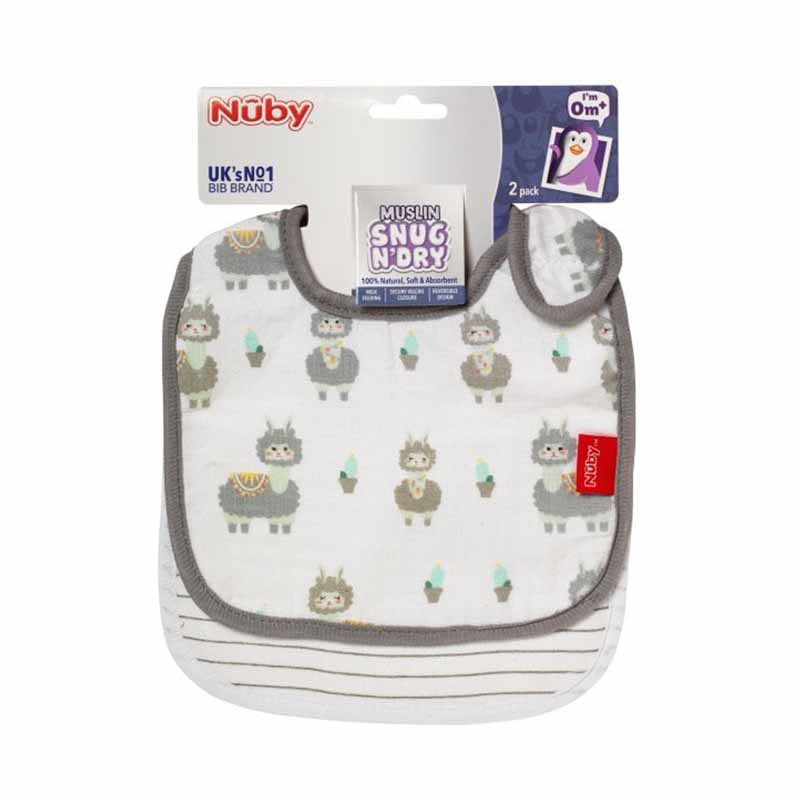 Nuby Muslin Snug N Dry Bibs 2pk - Grey