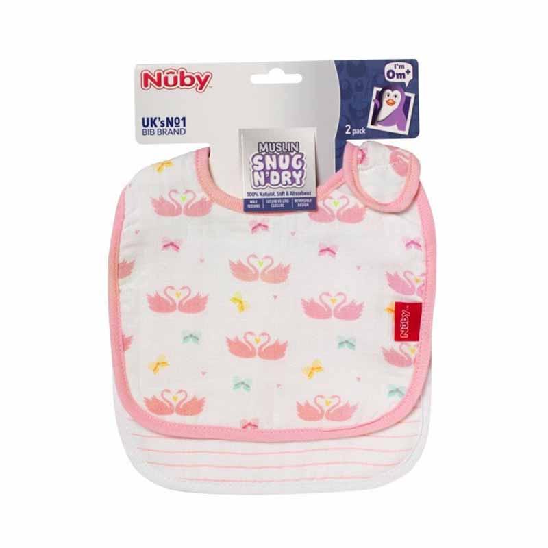 Nuby Muslin Snug N Dry Bibs 2pk - Pink