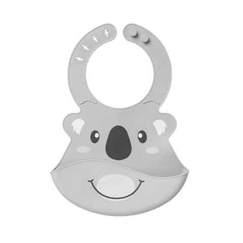 Nuby Roly Poly Animal Face Bib 6m+ - Grey