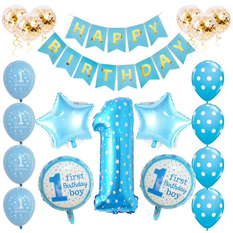 One Year Old Birthday Party Balloon Set - Blue Boy