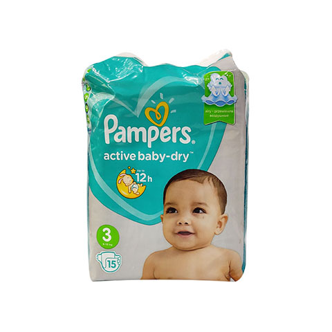 Pampers Active Baby Dry Up To 12h 3 (6-10 Kg) 15 Nappies