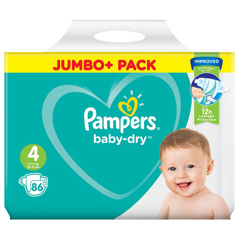 Pampers Baby Dry Belt Up To 12h 4 (9-14 kg) UK 86 Nappies