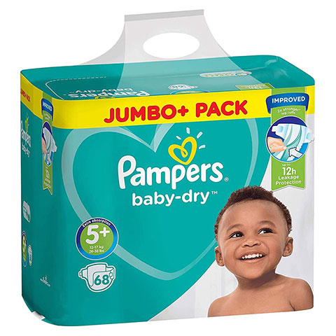 Pampers Baby Dry Belt Up To 12h 5+ (12-17 kg) UK 68 Nappies