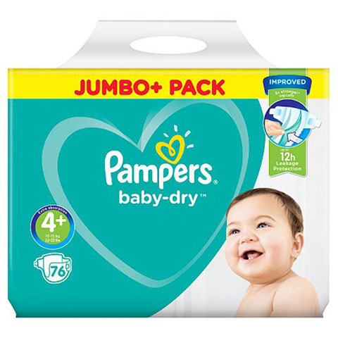 Pampers Baby Dry Belt Up To 4+ (10-15 kg) UK 76 Nappies