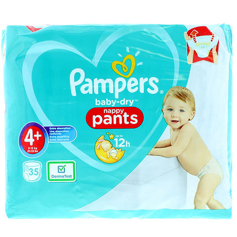 Pampers Baby Dry Nappy Pants Up To 12h 4+ (9-15 kg) 35 Nappies