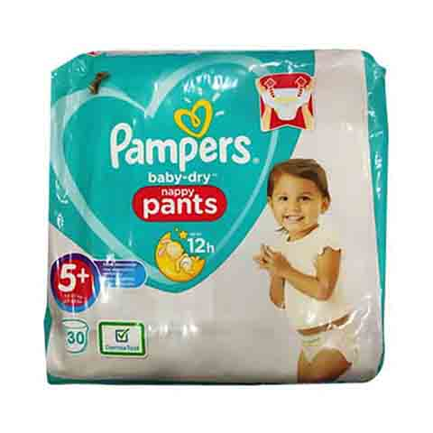 Pampers Baby Dry Nappy Pants Up To 12h 5+ (12-17 kg) 30 Nappies