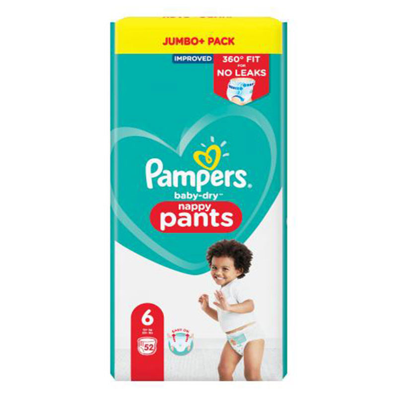 Pampers Baby-Dry Up to 12h Nappy Pants 6 (15+ kg ) 52 Nappies