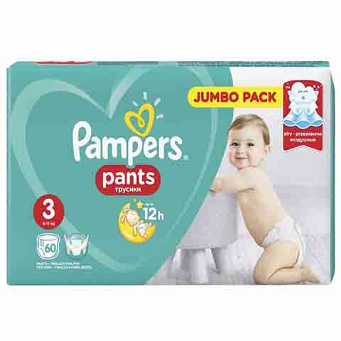 Pampers Jumbo Pack Baby Pants Up To 12h 3 (6-11 kg) 60 Nappies