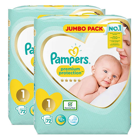 Pampers Premium Protection 12h Nappy Size 1 ( 2-5 kg) - 72 Nappies