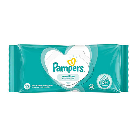 Pampers Sensitive Fragrance Free Baby Wipes - 52 Wipes