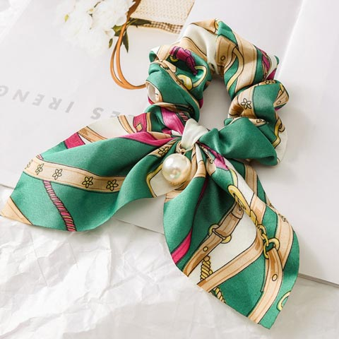 Pearl Pendant Bow knot Large Intestine Hair Tie - Green