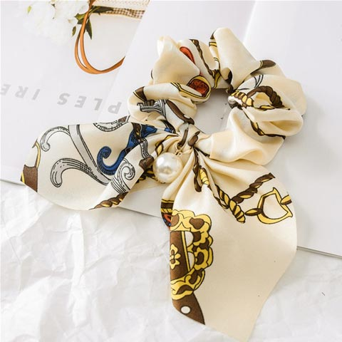 Pearl Pendant Bow knot Large Intestine Hair Tie - White