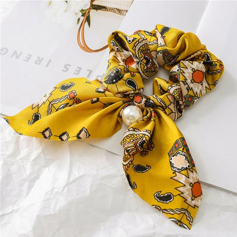 Pearl Pendant Bow knot Large Intestine Hair Tie - Yellow