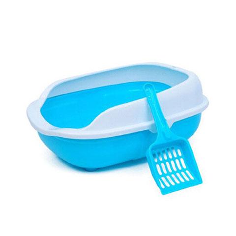 Pet Cat Toilet Open Plastic Small Litter Box - Blue