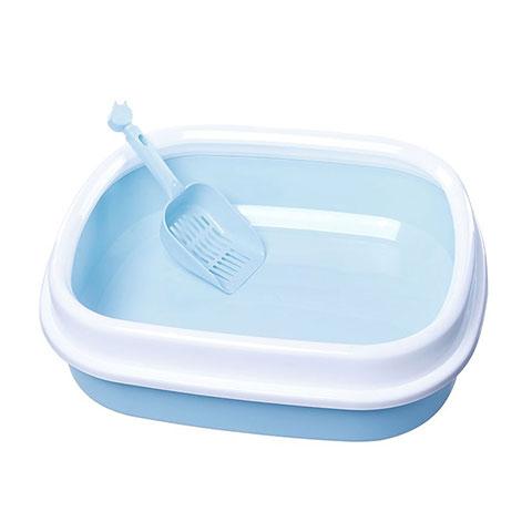 Pet Cat Toilet Open Plastic Litter Large Box - Light Blue