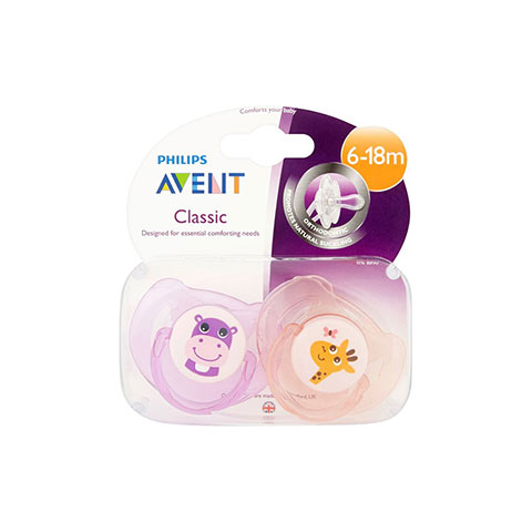 Philips Avent Classic 2 Orthodontic Soothers Twin Pack 6-18m Hippo & Giraffe (1138)