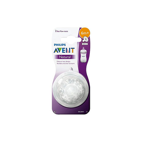 Philips Avent Natural 2 Fast Flow Teats 6m+ - 2 pack (68125)