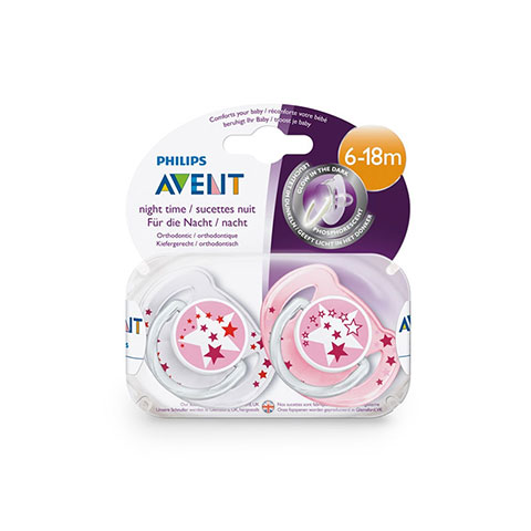 Philips Avent Night Time Soother Twin Pack 6-18m Pink (2233)