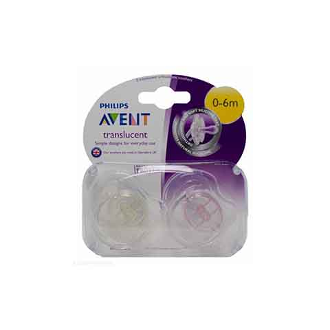 Philips Avent Translucent Orthodontic Soothers 0-6m 2pk - Pink & Yellow