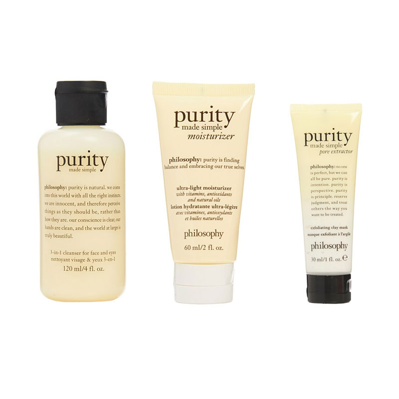 Philosophy Purity Made Simple Facial Cleanser Pore Extractor Moisturizer 3 PC Set