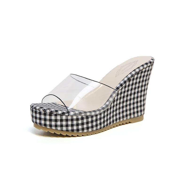 Plaid Cloth Women High Heel Wedges