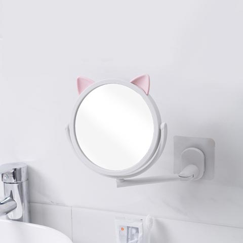 Punch-Free Wall-Mounted Small Mirror - White