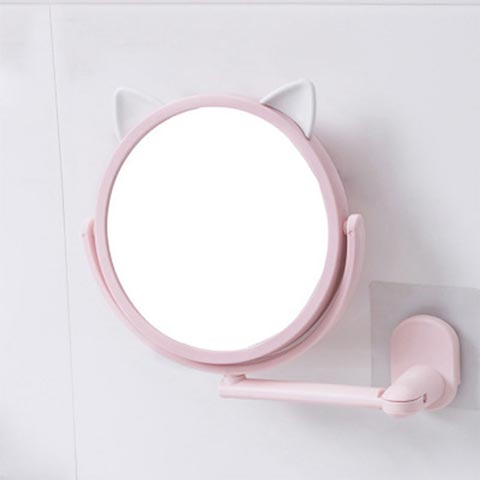 Punch-Free Wall-Mounted Small Mirror - Pink