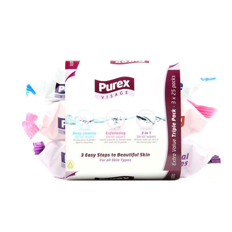Purex Visage Facial Wipes Extra Value Triple Pack - 3 x 25 Pack