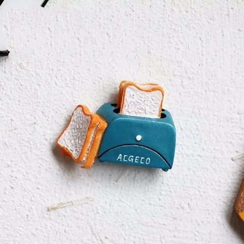 Refrigerator Magnet Resin Decorative 3D Stickers - Bread Toaster