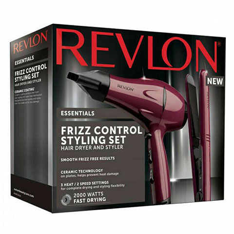 Revlon Essentials Frizz Control Hair Dryer And Styler Styling Set (2309)