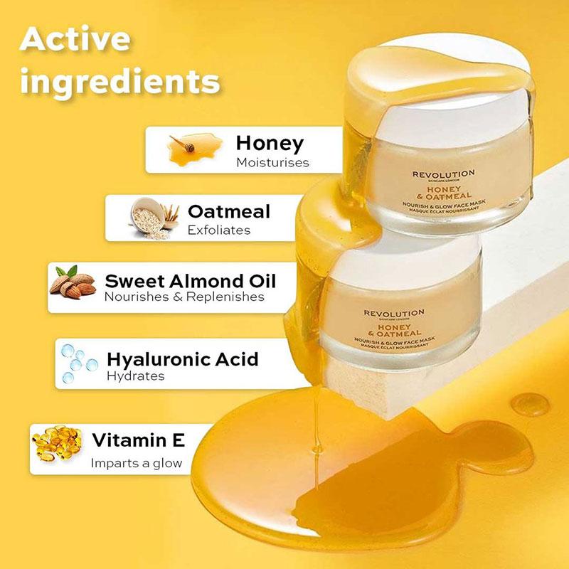Revolution Skincare Honey & Oatmeal Nourish and glow face mask 50ml
