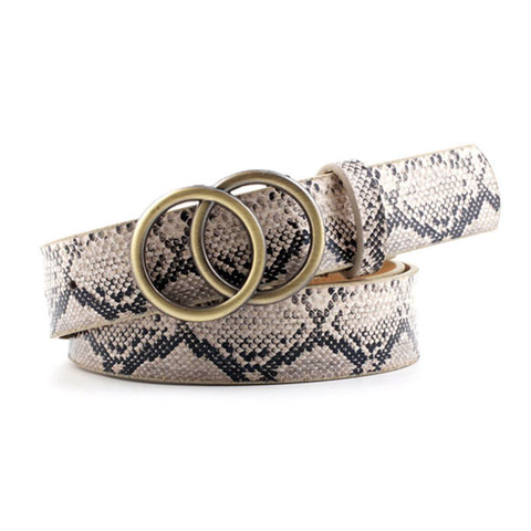 Ring Round Buckle Ladies Belt - Snake Print