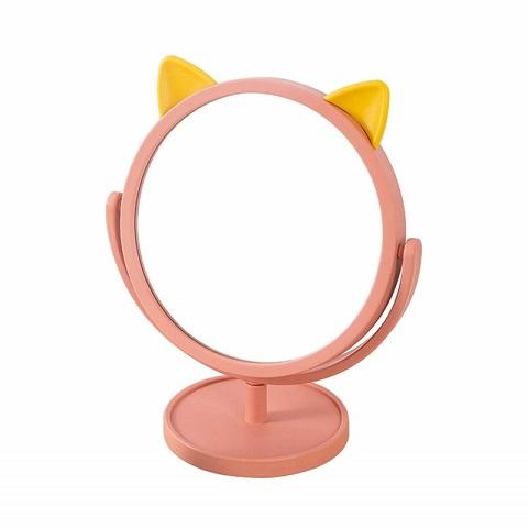 Round Cat Ear 360° Rotating Portable Makeup Mirror
