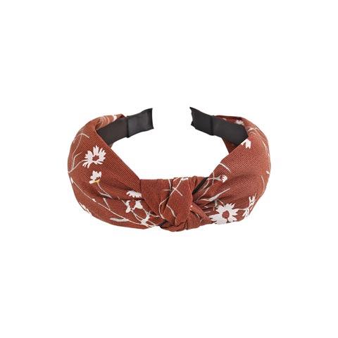 Scottish Pattern Plaid  knotted Headband for Women - Chocolate