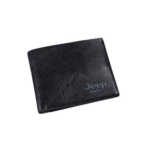 Short Casual Soft Leather Men's Wallet - Black