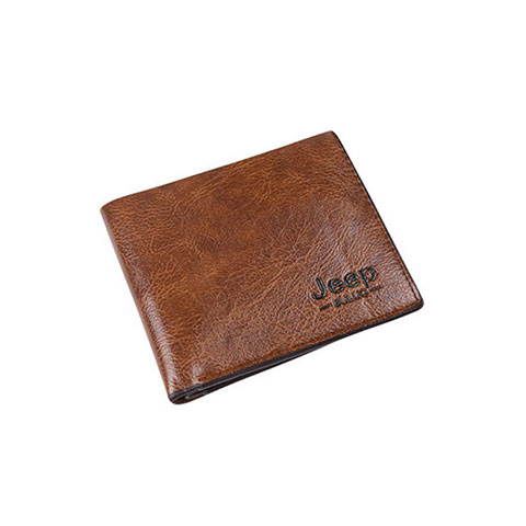 Short Casual Soft Leather Men's Wallet - Brown