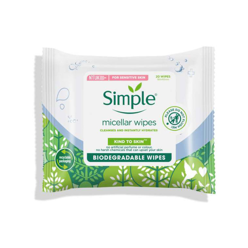 Simple Kind To Skin Micellar Cleansing Biodegradable Wipes 20 Wipes