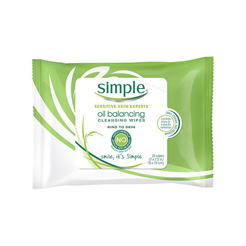 Simple Kind to Skin Oil Balancing Cleansing Wipes - 25 wipes