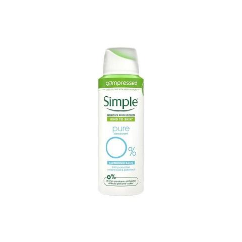 Simple Kind To Skin Pure Deodorant Spray With Cedarwood & Patchouli 125ml