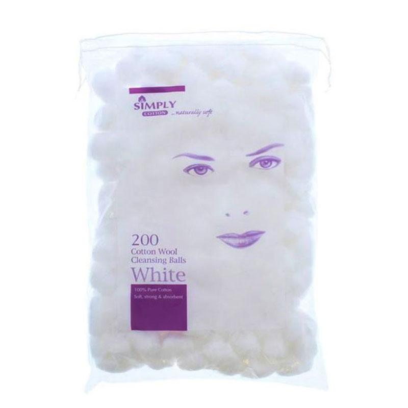Simply 200 Cotton Wool Cleansing Balls - White