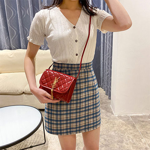 Solid Color Female Casual Small Square Shoulder Bag