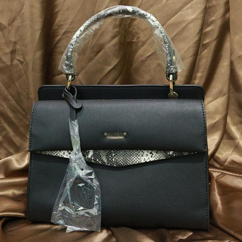 Solid Color Snake Print Ladies Handbag (AA011909071) - Black