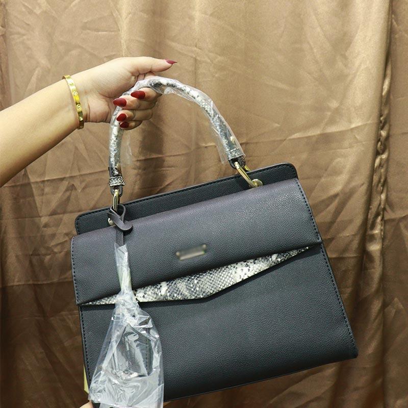 Solid Color Snake Print Ladies Handbag (AA011909071) - Black