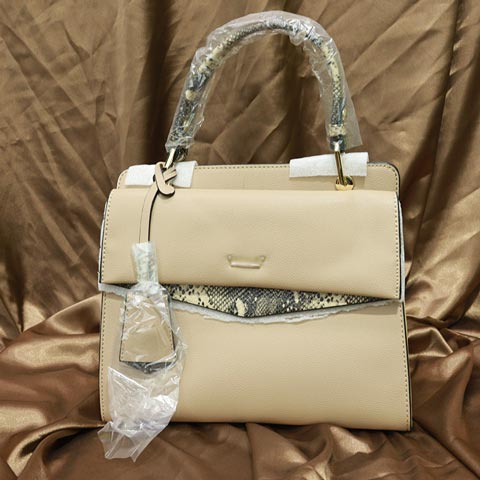 Solid Color Snake Print Ladies Handbag (AA011909071) - Mud