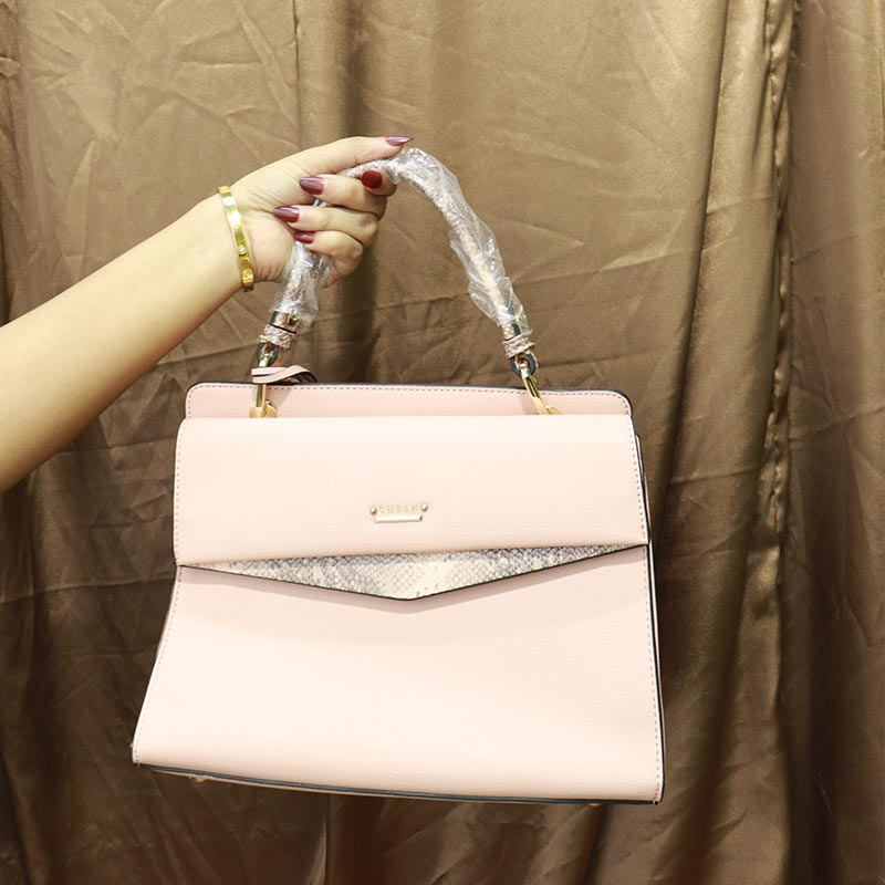 Solid Color Snake Print Ladies Handbag (AA011909071) - Pink