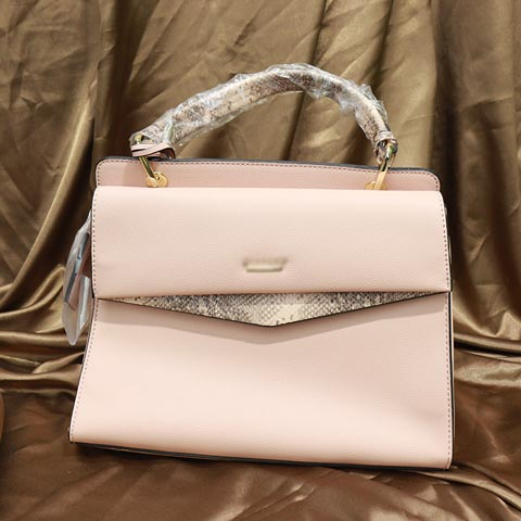 Solid Color Snake Print Ladies Handbag (AA011909071) - Pink